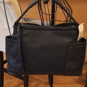 NWT navy leather bag
